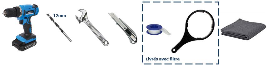 outils pour installation entretien Osmoseur blueau